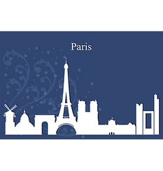 Paris city skyline on blue background vector
