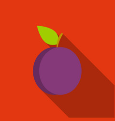 plum icon flat singe fruit icon vector image