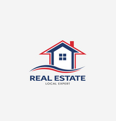 real estate house red and blue logo vector image