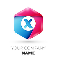 realistic letter x in colorful hexagonal vector image