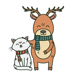 Reindeer and cat with scarf celebration merry vector