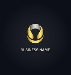 round abstract company gold logo vector image