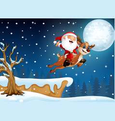 Santa claus riding his deer flying over hill vector
