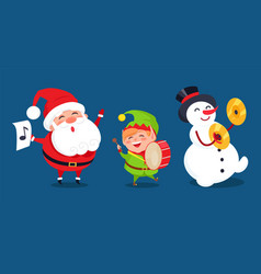 Santa with music sign elf playing on drum snowman vector