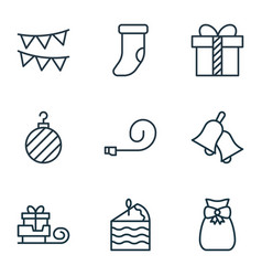 set of 9 holiday icons includes fireplace vector image