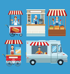 set of food stands vector image