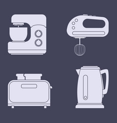 Set of icons of household kitchen appliances vector