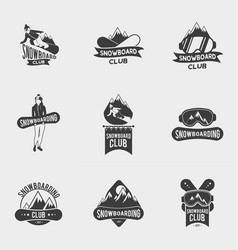 set of snowboard club logos labels or badges vector image