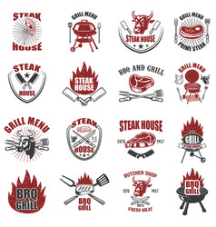 Set of steak house labels bbq butcher tools bull vector