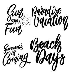 set summer lettering phrase on white vector image