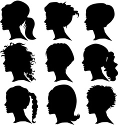 set woman silhouette with hair styling vector image