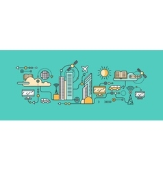 Smart technology in infrastructure city vector