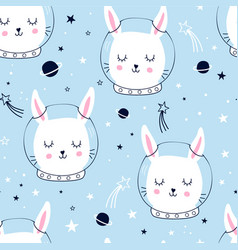 Space and happy unicorns vector