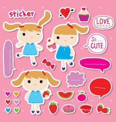 sticker girl cute fruit sweet cartoon vector image