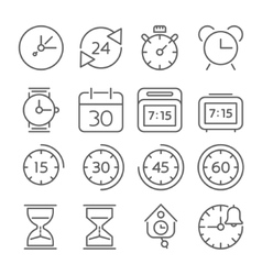 Time and clock icons flat design thin line style vector