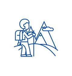 Travellerhiking line icon concept traveller vector