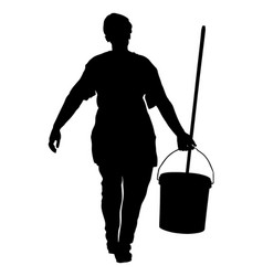 Washing care cleaning service lady silhouette vector