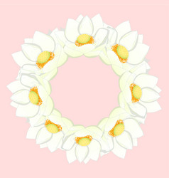 White indian lotus wreath vector
