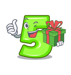 with gift number five isolated on the mascot vector image