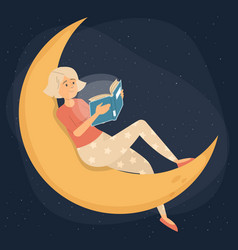 woman reading book at night female character vector image