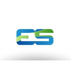 blue green es e s alphabet letter logo vector image vector image