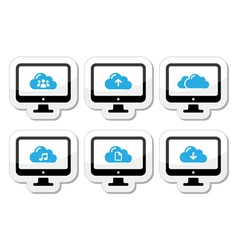 Computer and cloud icons set for web vector image vector image