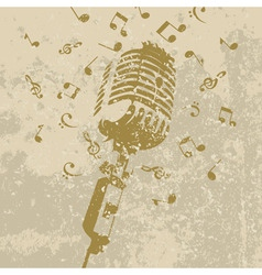 retro a microphone on a grey background a vector i vector image