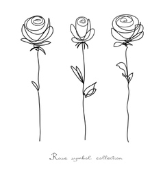 Roses Collection of isolated flower sketch vector image vector image