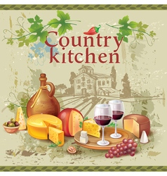 Still life of wine cheese and grapes vector image vector image