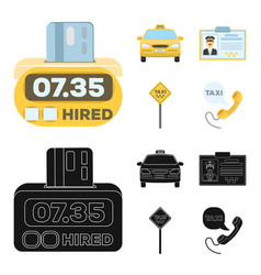 The counter of the fare in the taxi the taxi car vector