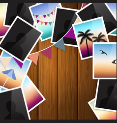 Travel photo collage on wooden background vector