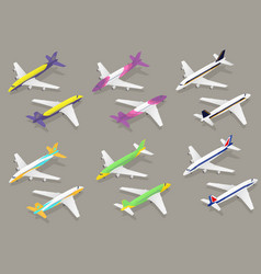 white passenger airplane color icon set isometric vector image