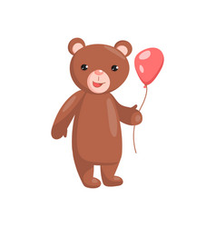 costume bear character holding red balloon cartoon vector image vector image
