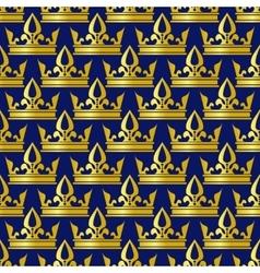 Golden crowns blue seamless pattern vector image