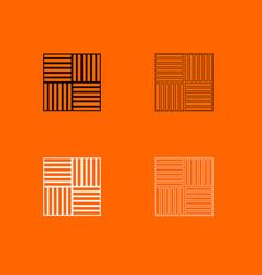 laminate flooring black and white set icon vector image