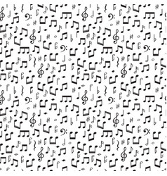 seamless pattern with music notes hand drawn vector image vector image