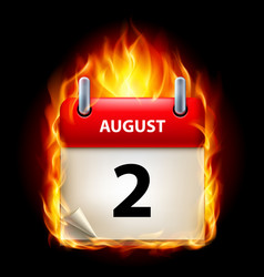 second august in calendar burning icon on black vector image vector image
