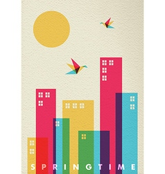 Spring time season diversity colors city concept vector image