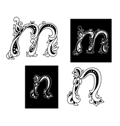 Two letters M and N in floral style vector image
