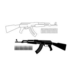 Assault rifle with bullets Contour Silhouette vector image vector image