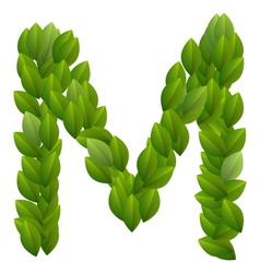 Letter m of green leaves alphabet vector