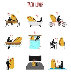 Lover taco set Love to Mexican food collection Man vector image vector image