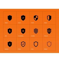 Shield icons on orange background vector image
