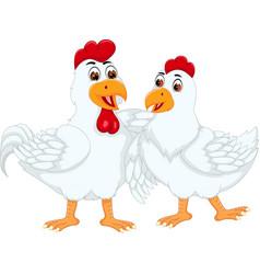 sweet chicken couple cartoon standing with embarce vector image