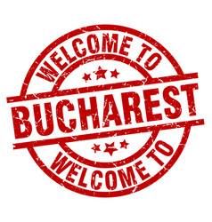 welcome to bucharest red stamp vector image vector image