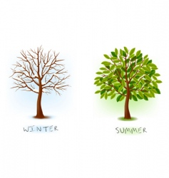 winter and summer trees vector image vector image