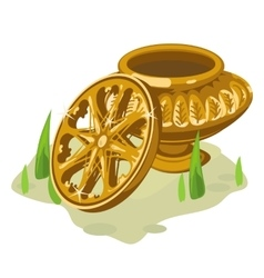 Ancient gold vase and wheel Two object vector image vector image