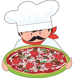 chef and pizza vector image