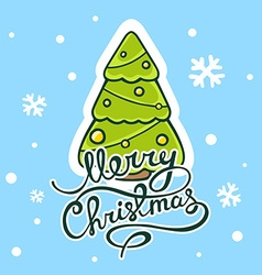 green christmas tree with hand written te vector image vector image