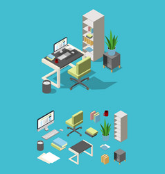 isometric office workspace with different vector image
